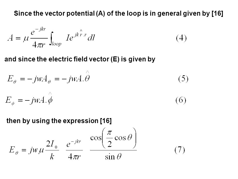 Since the vector potential (A) of the loop is in general given by [16]